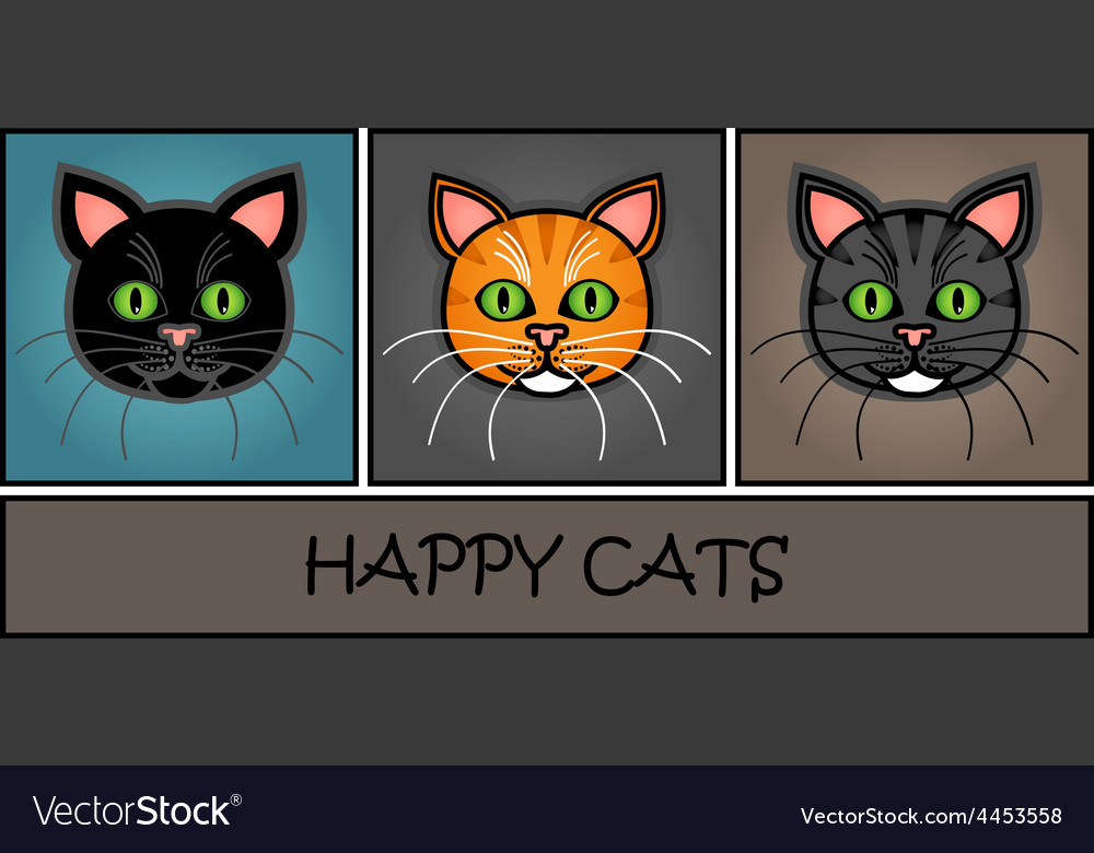 Cartoon cat header vector | Price: 1 Credit (USD $1)