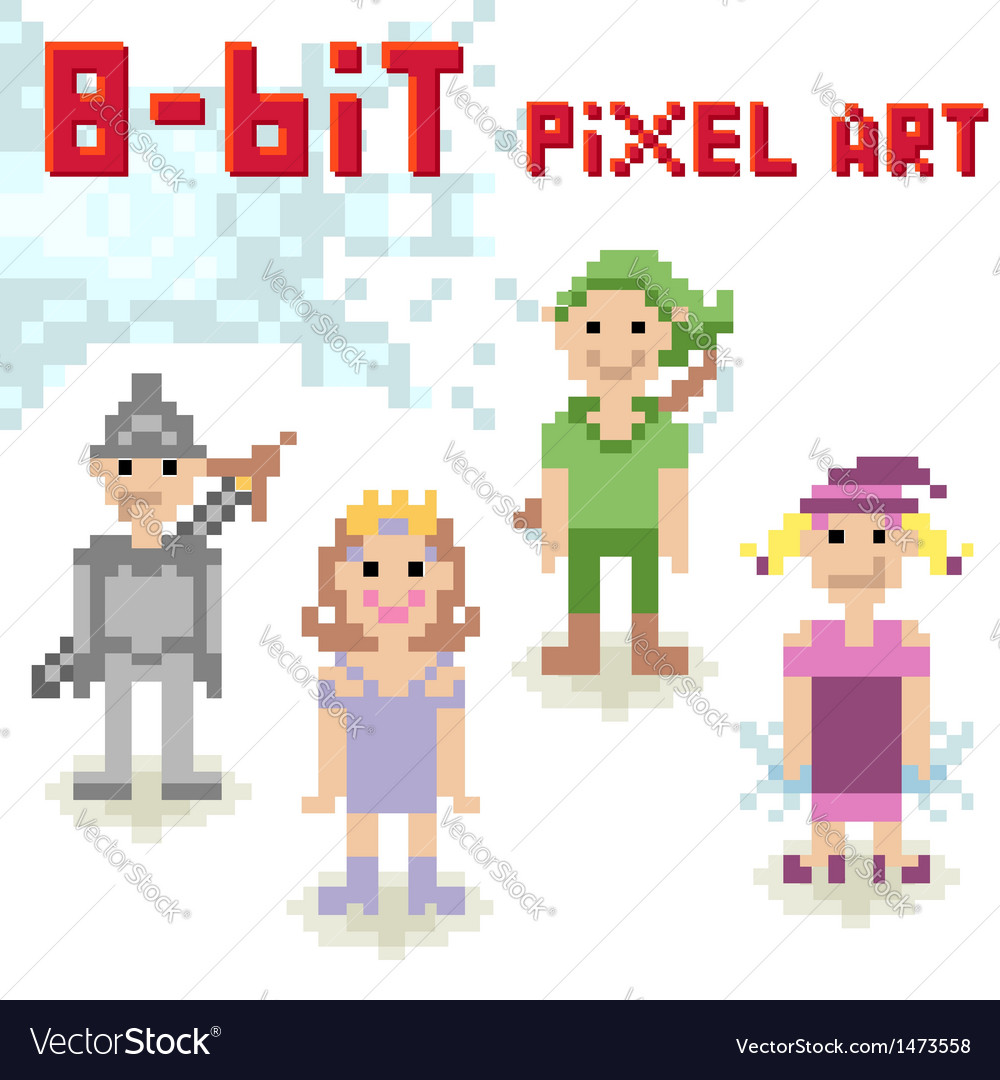 Cute 8-bit pixel character set of casual people vector | Price: 1 Credit (USD $1)