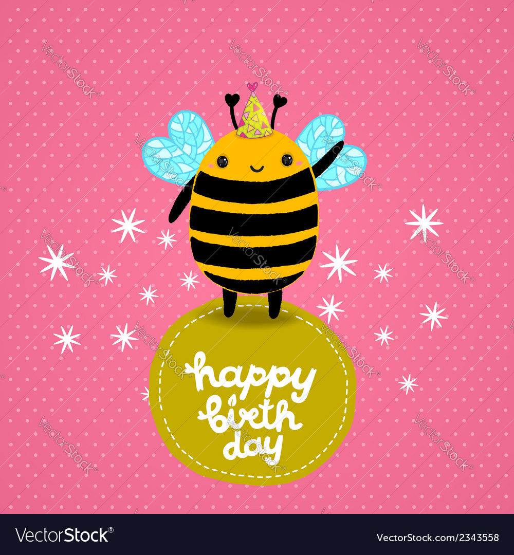 Happy birthday card background with a bee vector | Price: 1 Credit (USD $1)