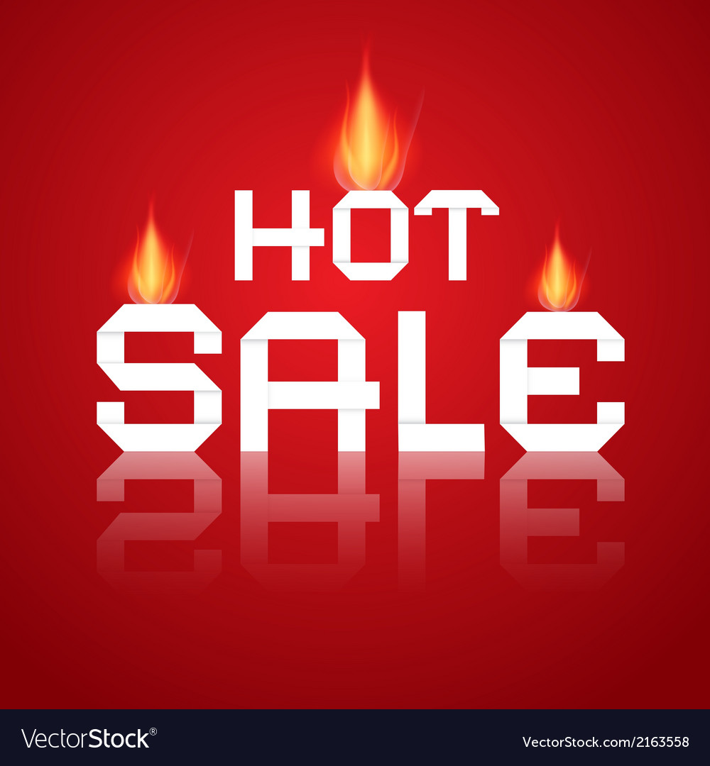 Hot sale paper title in flames on red background vector | Price: 1 Credit (USD $1)