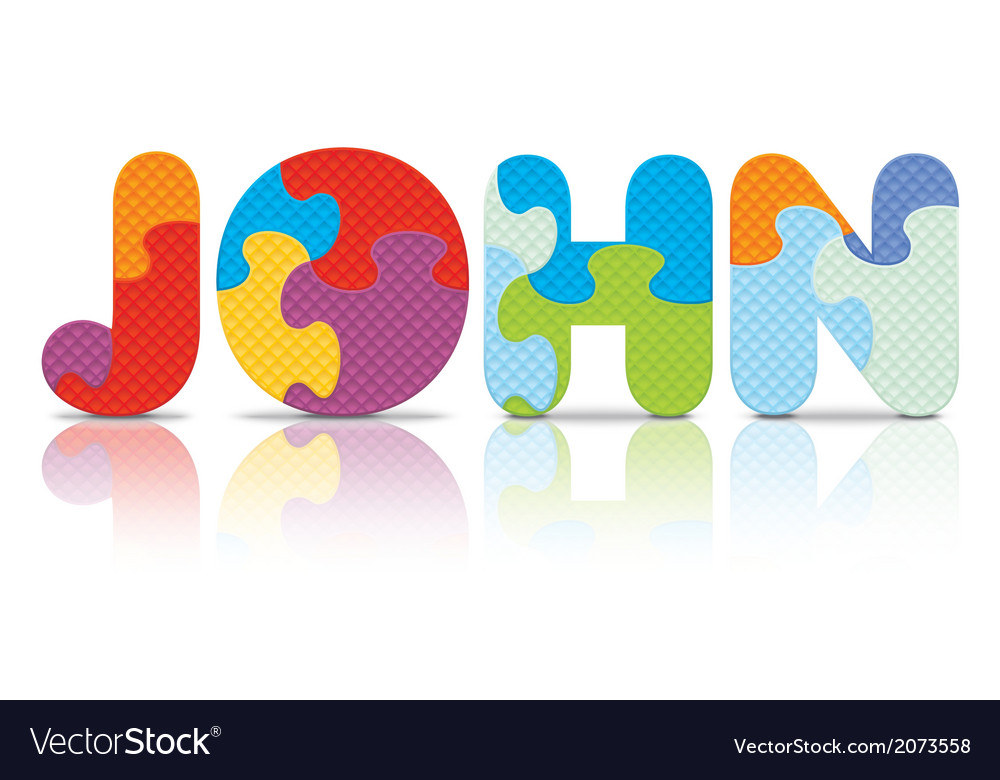 John written with alphabet puzzle vector | Price: 1 Credit (USD $1)