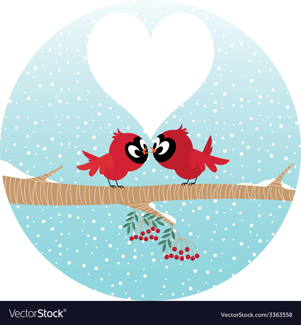 Loving birds on a branch vector | Price: 1 Credit (USD $1)