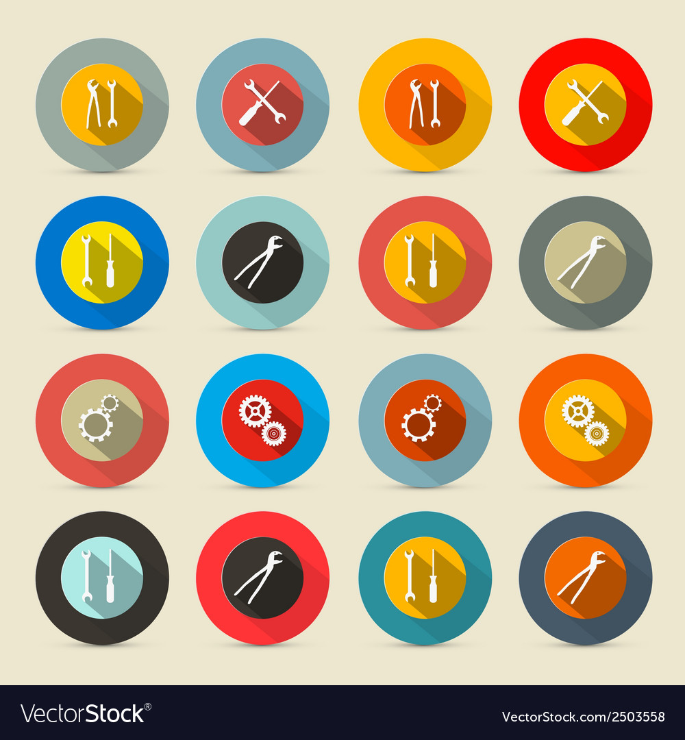 Retro tools buttons - icons set vector | Price: 1 Credit (USD $1)