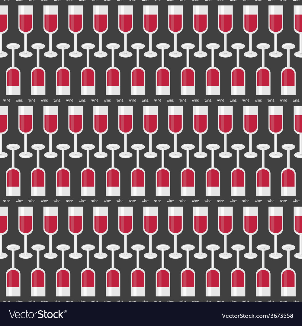 Seamless pattern with glasses of red wine and word vector