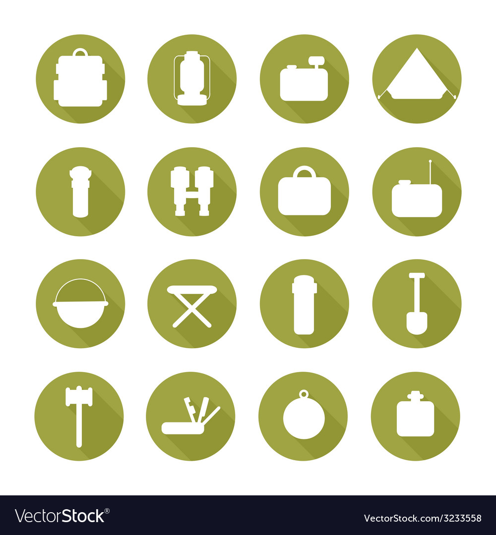 Set of silhouette pictogram camping equipment vector | Price: 1 Credit (USD $1)