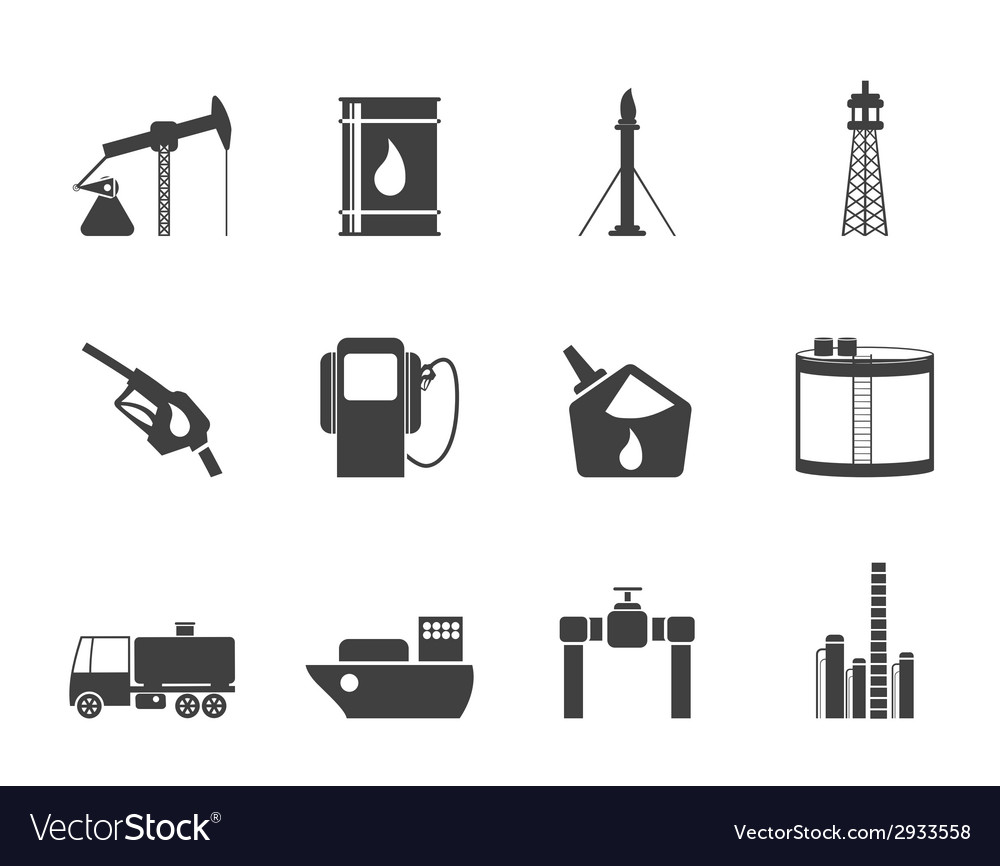 Silhouette oil and petrol industry icons vector | Price: 1 Credit (USD $1)