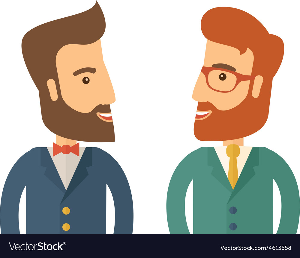 Two businessmen smiling vector | Price: 1 Credit (USD $1)