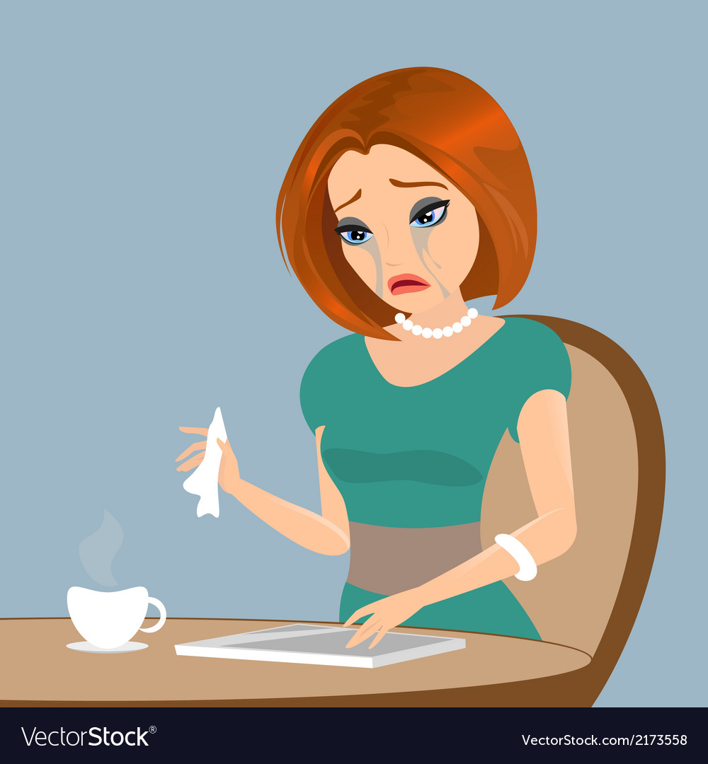 Young elegant woman is crying in the cafe - close vector | Price: 1 Credit (USD $1)