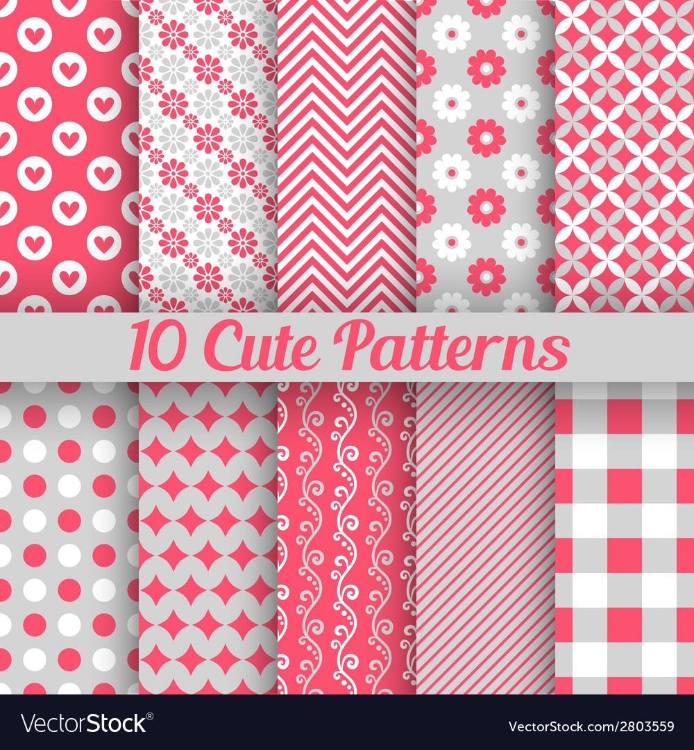 10 cute different seamless patterns vector | Price: 1 Credit (USD $1)