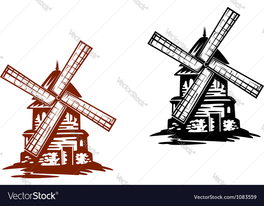 Ancient windmills vector | Price: 1 Credit (USD $1)
