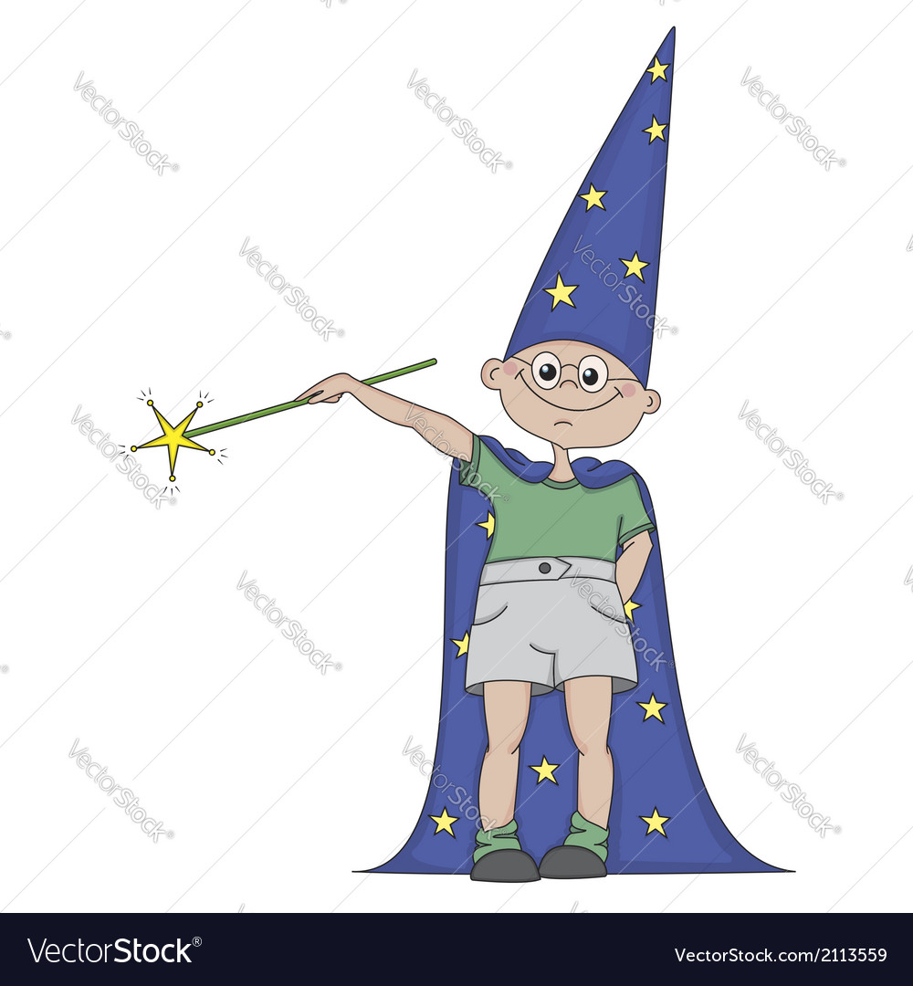 Boy with magic wand vector | Price: 1 Credit (USD $1)