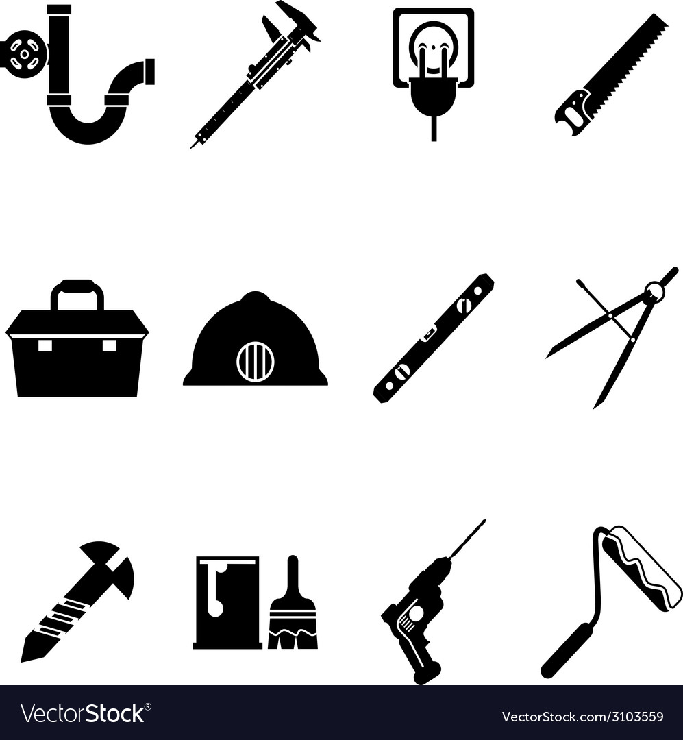 Building equipment icons and construction tools vector | Price: 1 Credit (USD $1)