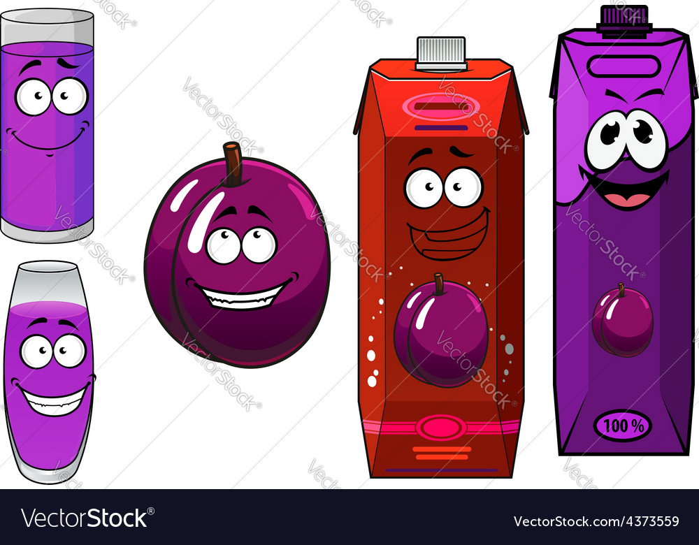 Cartoon plum juice packs with glasses and fruit vector | Price: 1 Credit (USD $1)