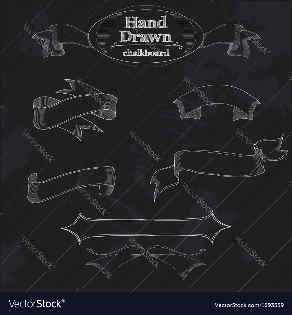 Chalkboard banner and ribbon vector | Price: 1 Credit (USD $1)