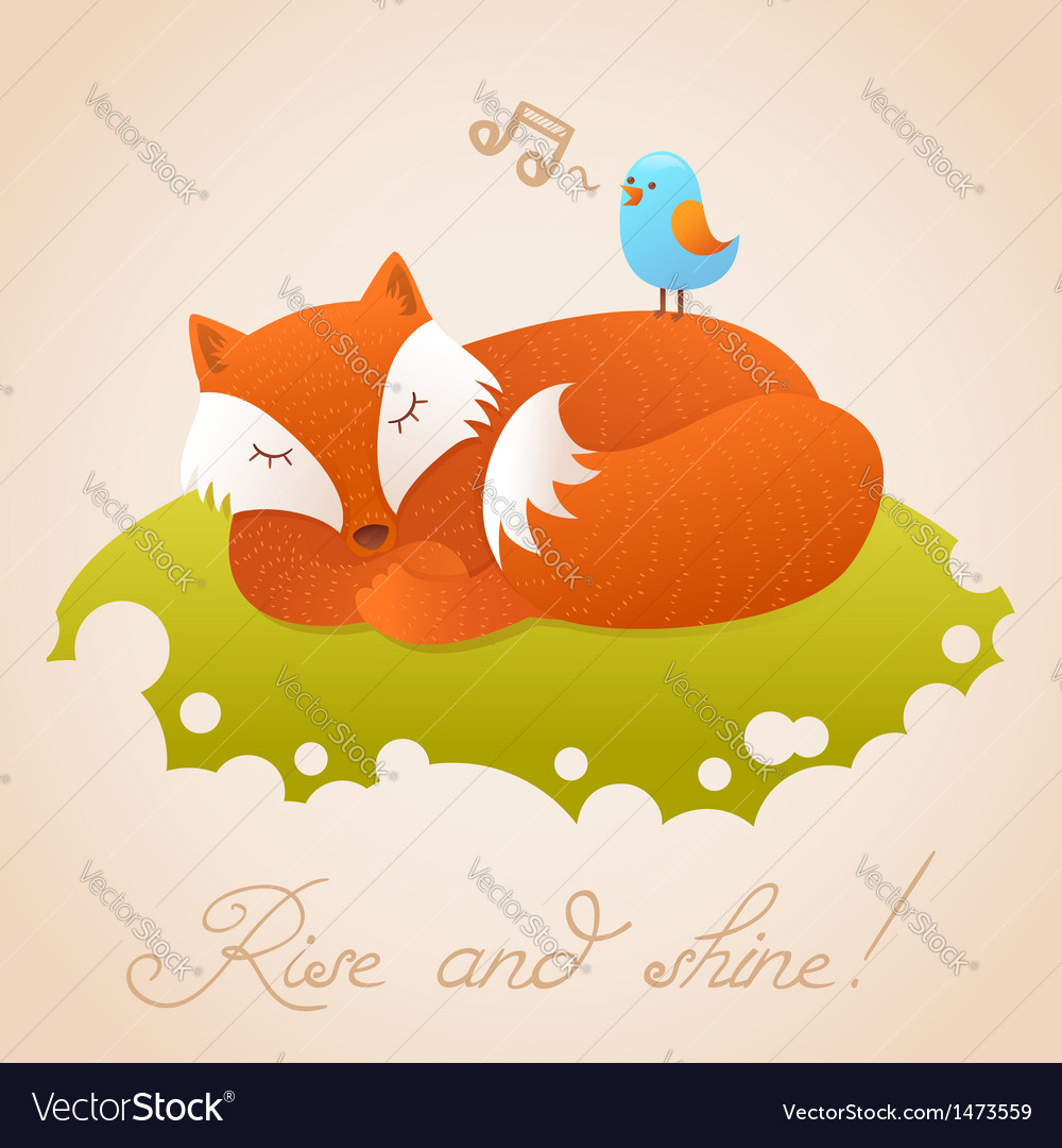 Cute baby card with sleeping red fox vector | Price: 1 Credit (USD $1)