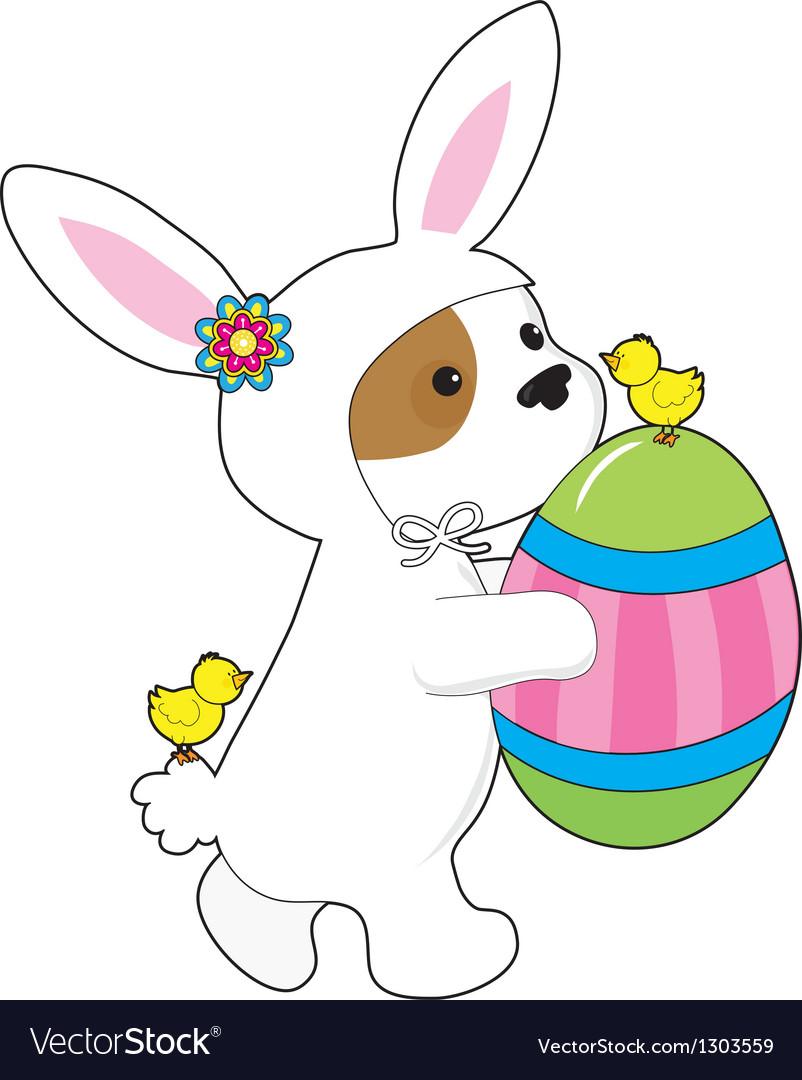 Cute puppy bunny suit vector | Price: 3 Credit (USD $3)