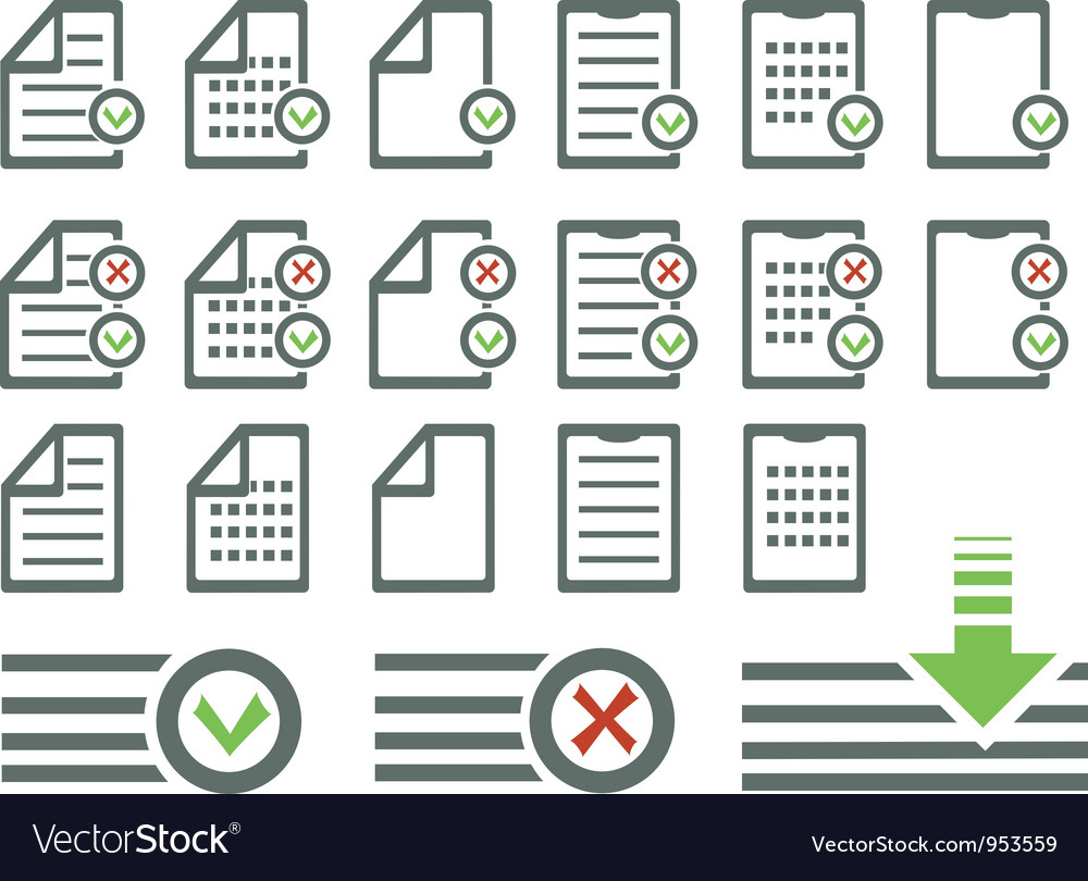 Document icons set vector | Price: 1 Credit (USD $1)