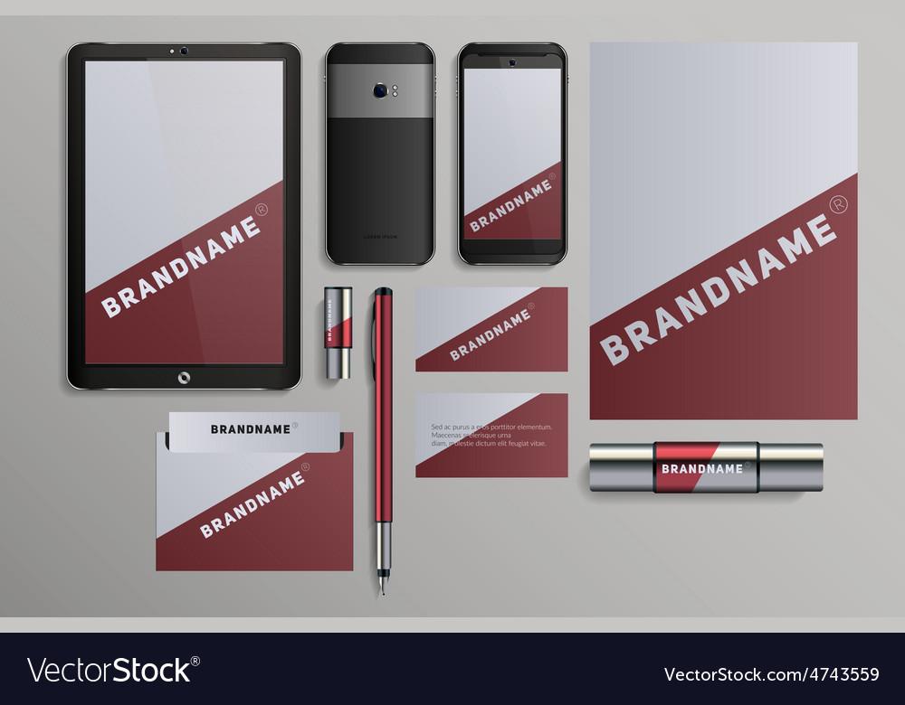 Realistic corporate identity business set design vector | Price: 1 Credit (USD $1)