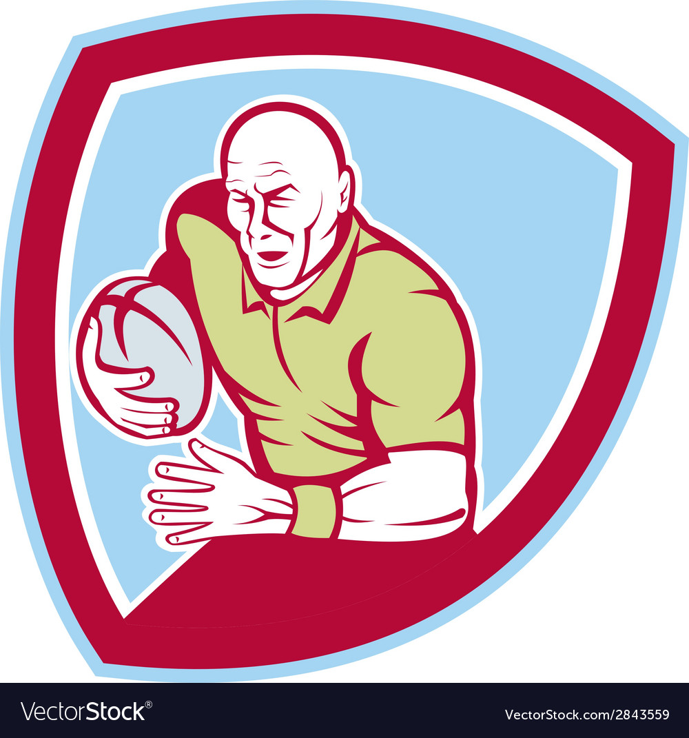 Rugby player running charging shield cartoon vector | Price: 1 Credit (USD $1)