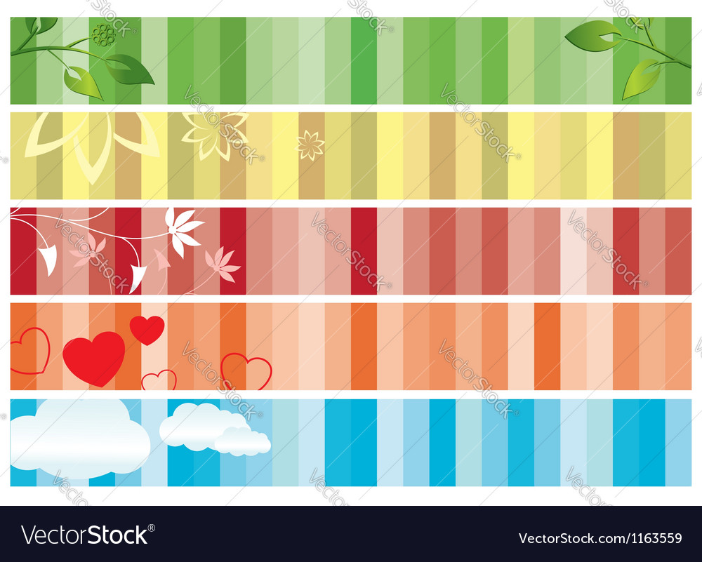 Set of color banners with nature vector | Price: 1 Credit (USD $1)