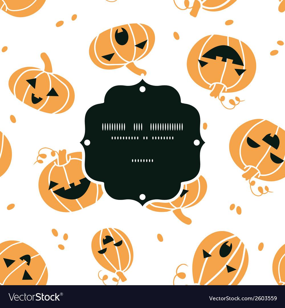 Smiling halloween pumpkins frame seamless pattern vector | Price: 1 Credit (USD $1)