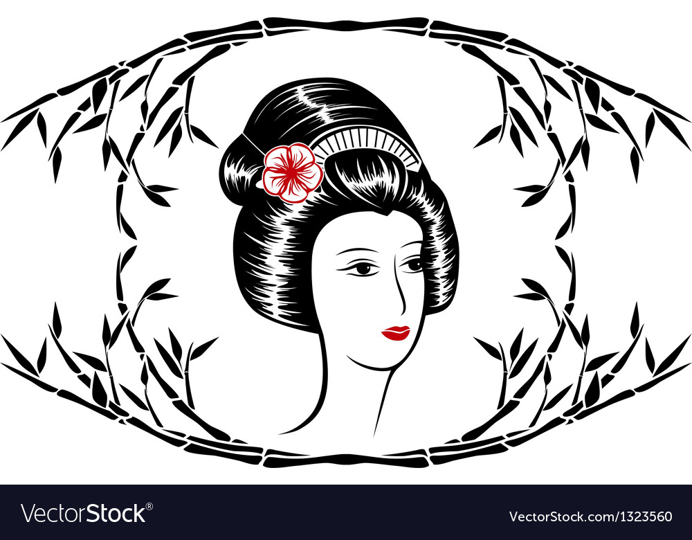 Asian beauty in a frame of bamboo vector | Price: 1 Credit (USD $1)