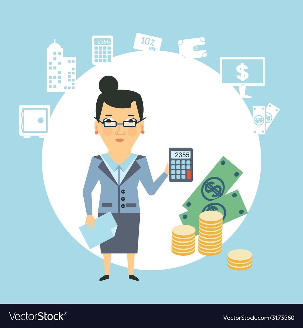 Bank employee counts money vector | Price: 1 Credit (USD $1)