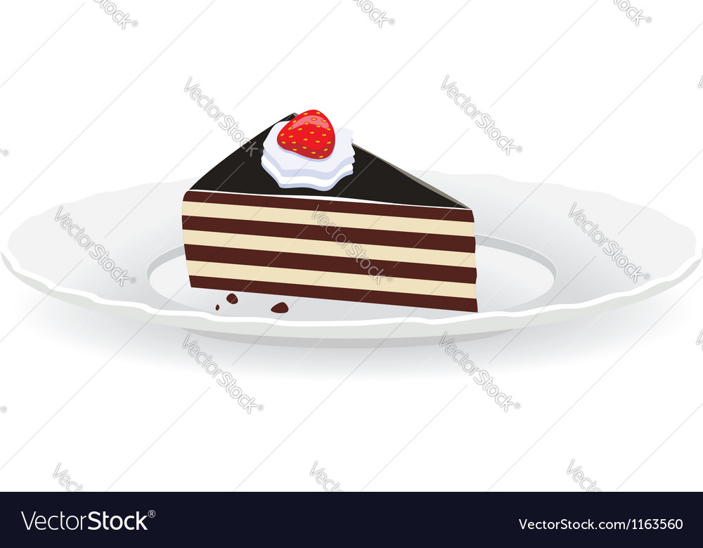 Cake slice on a plate vector | Price: 1 Credit (USD $1)
