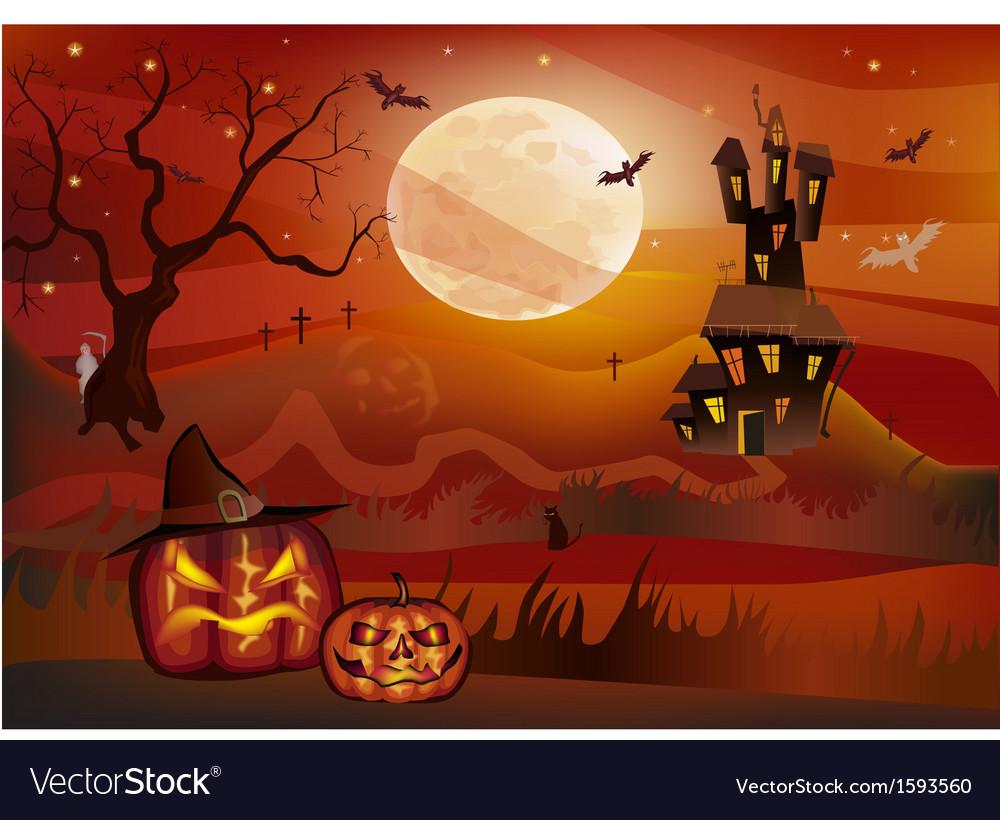 Halloween postcard vector | Price: 1 Credit (USD $1)