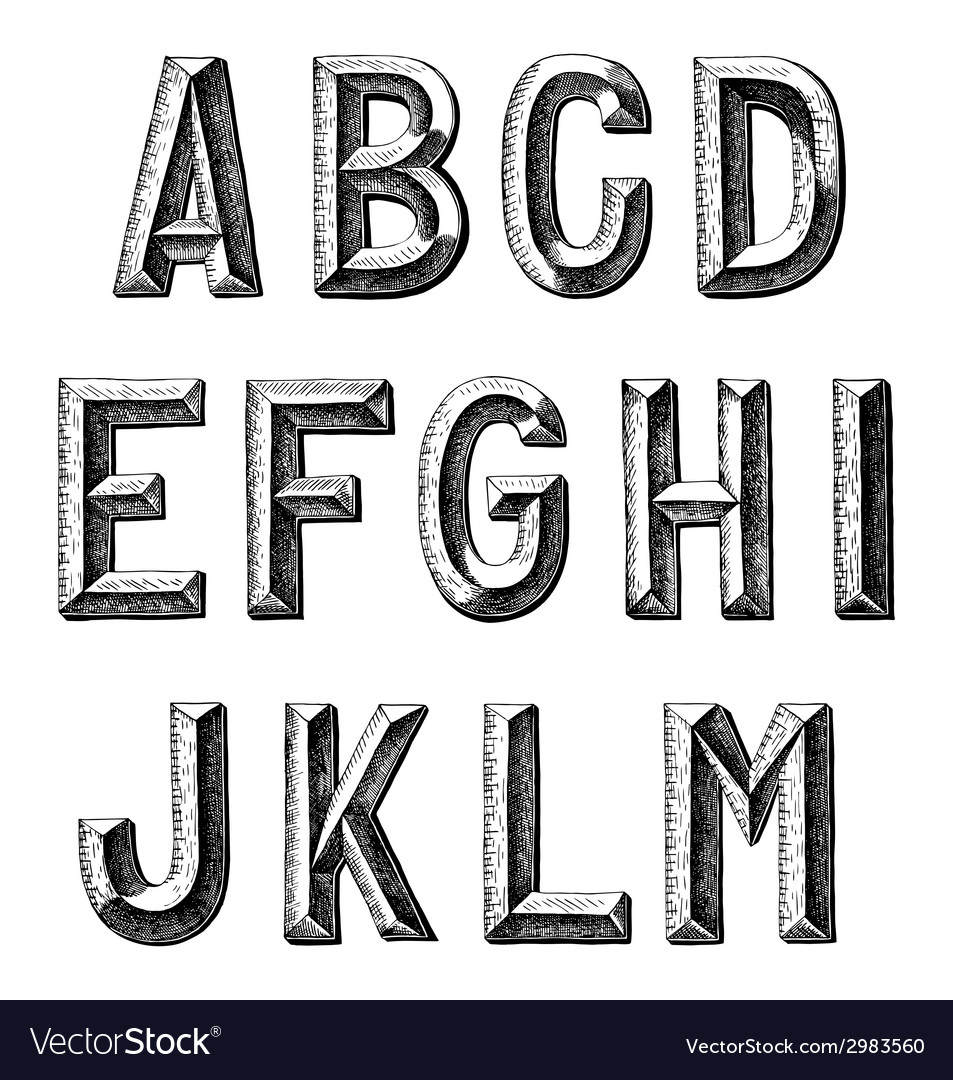 Hand draw sketch alphabet design vector | Price: 1 Credit (USD $1)