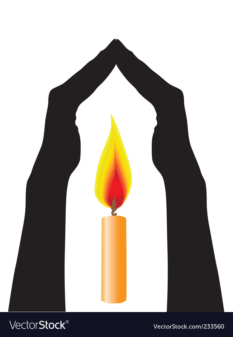Human hands caring flame vector | Price: 1 Credit (USD $1)