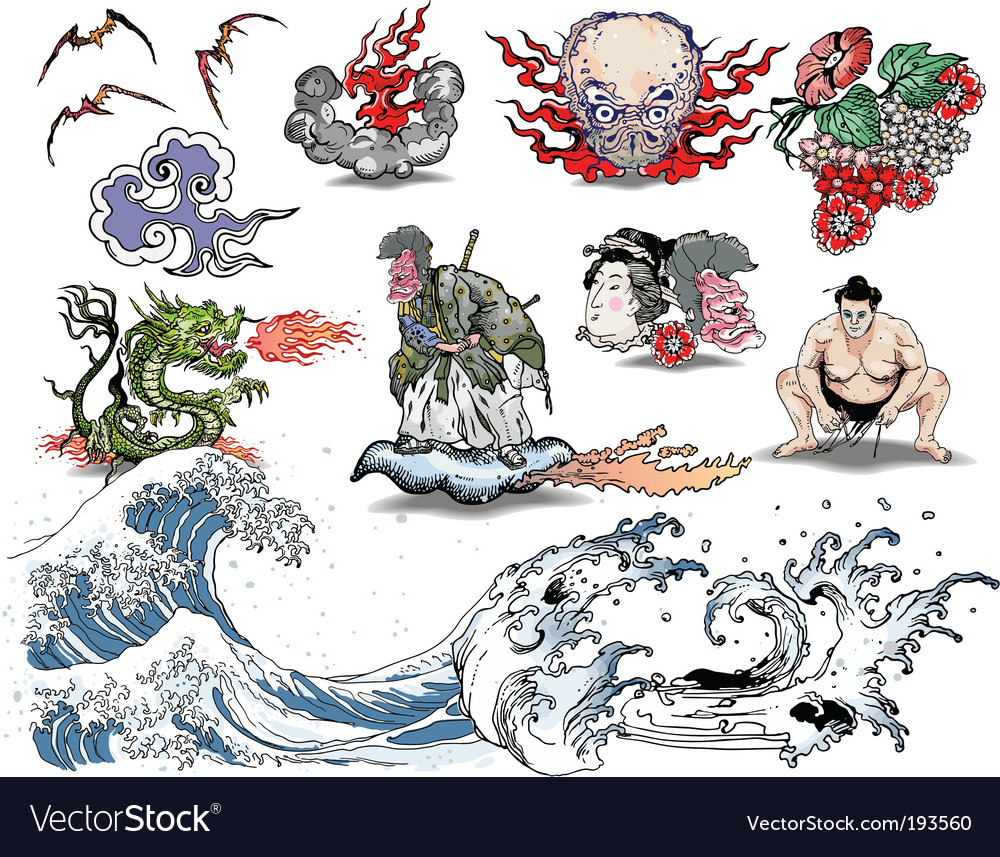 Japanese tattoo elements vector | Price: 3 Credit (USD $3)