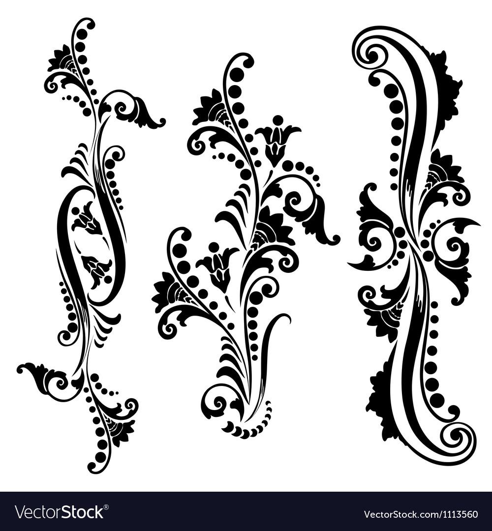 Set vintage swirling floral elements vector | Price: 1 Credit (USD $1)