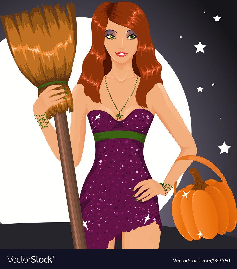 Sexy halloween witch holding a broom and a pumpkin vector | Price: 1 Credit (USD $1)