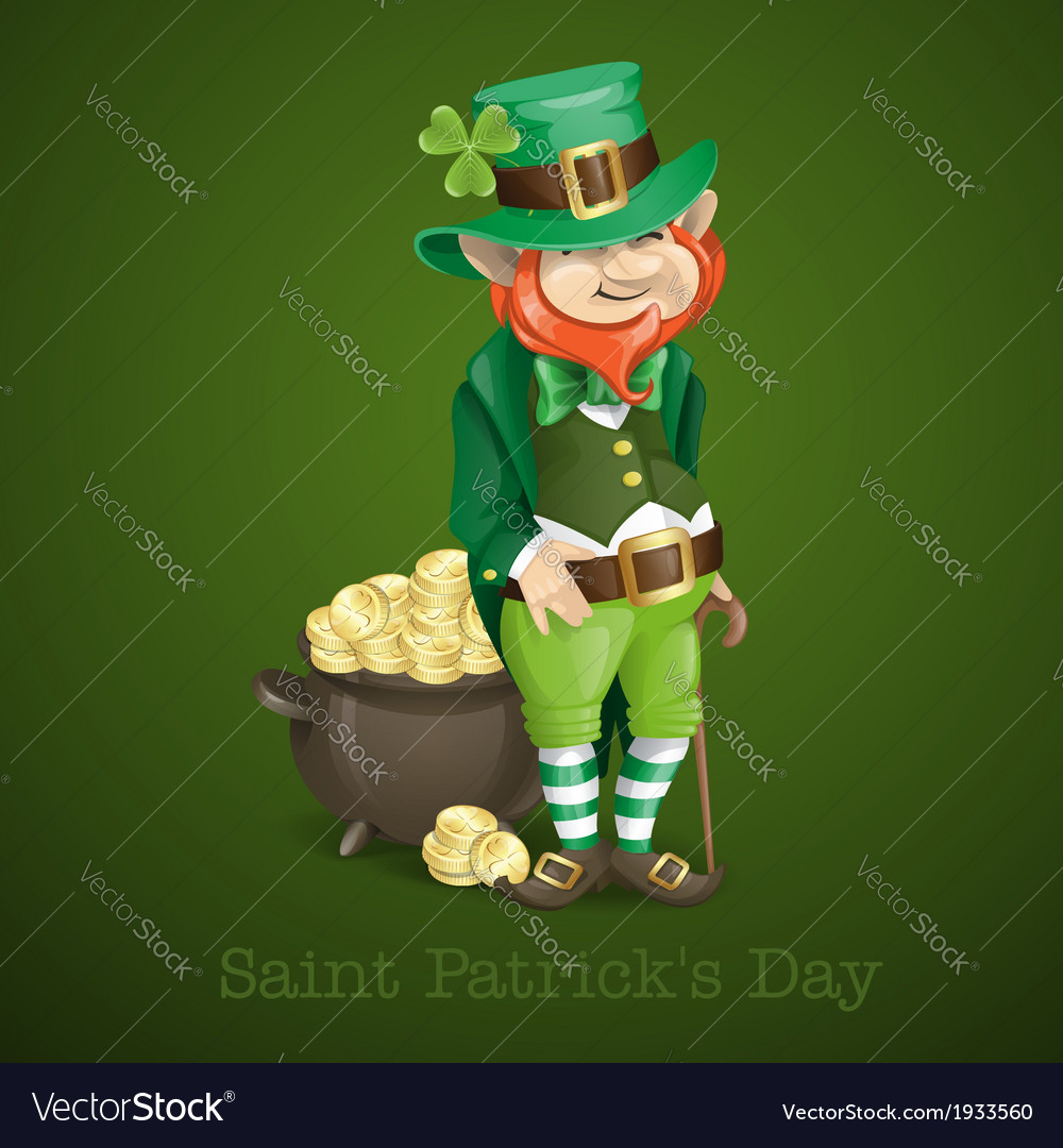St patricks day leprechaun with pot of gold vector | Price: 3 Credit (USD $3)