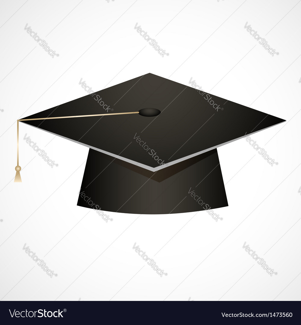 Traditional graduation hat isolated on white vector | Price: 1 Credit (USD $1)