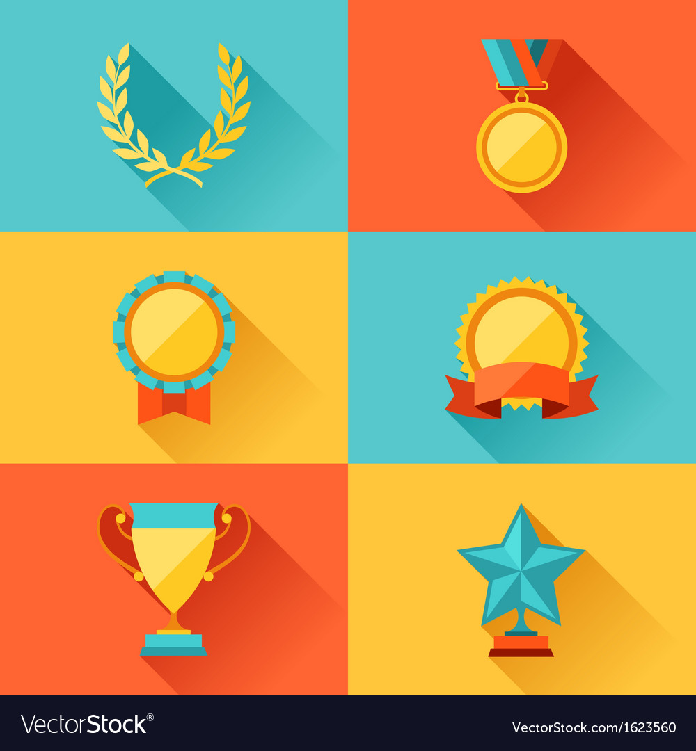 Trophy and awards in flat design style vector | Price: 1 Credit (USD $1)