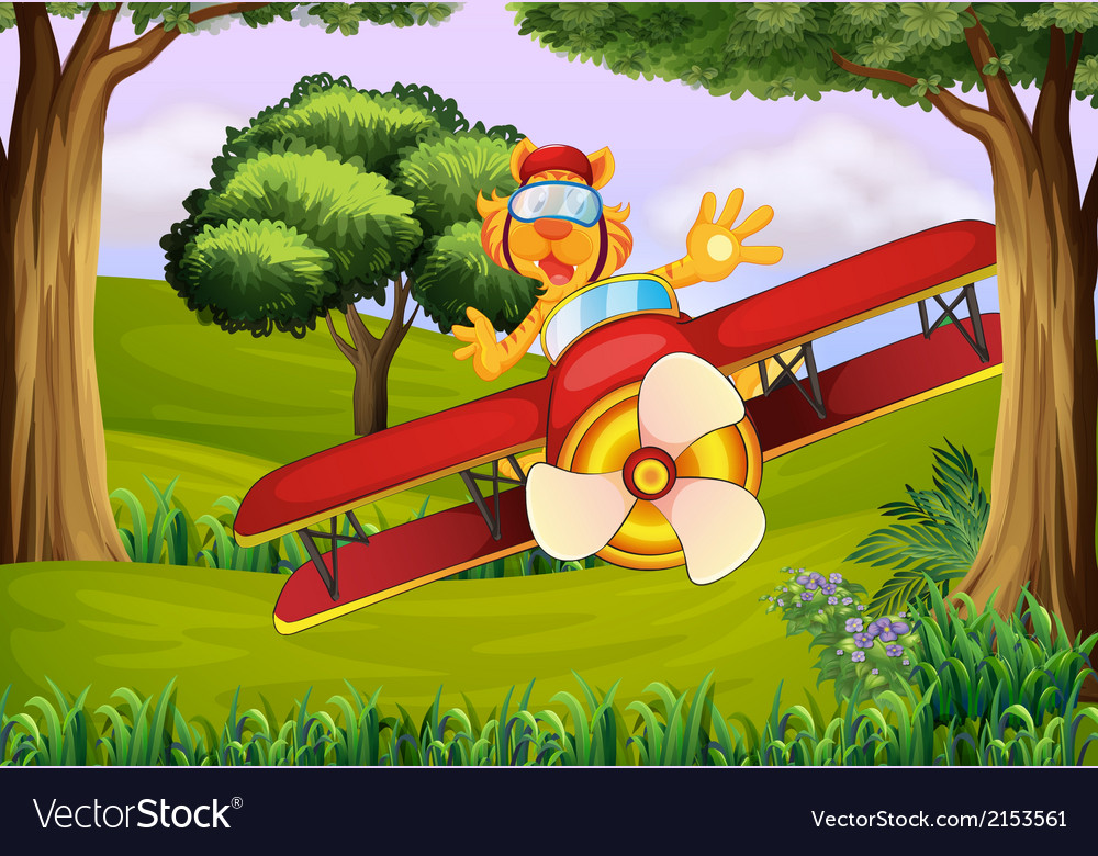 A plane at the forest with a tiger vector | Price: 1 Credit (USD $1)