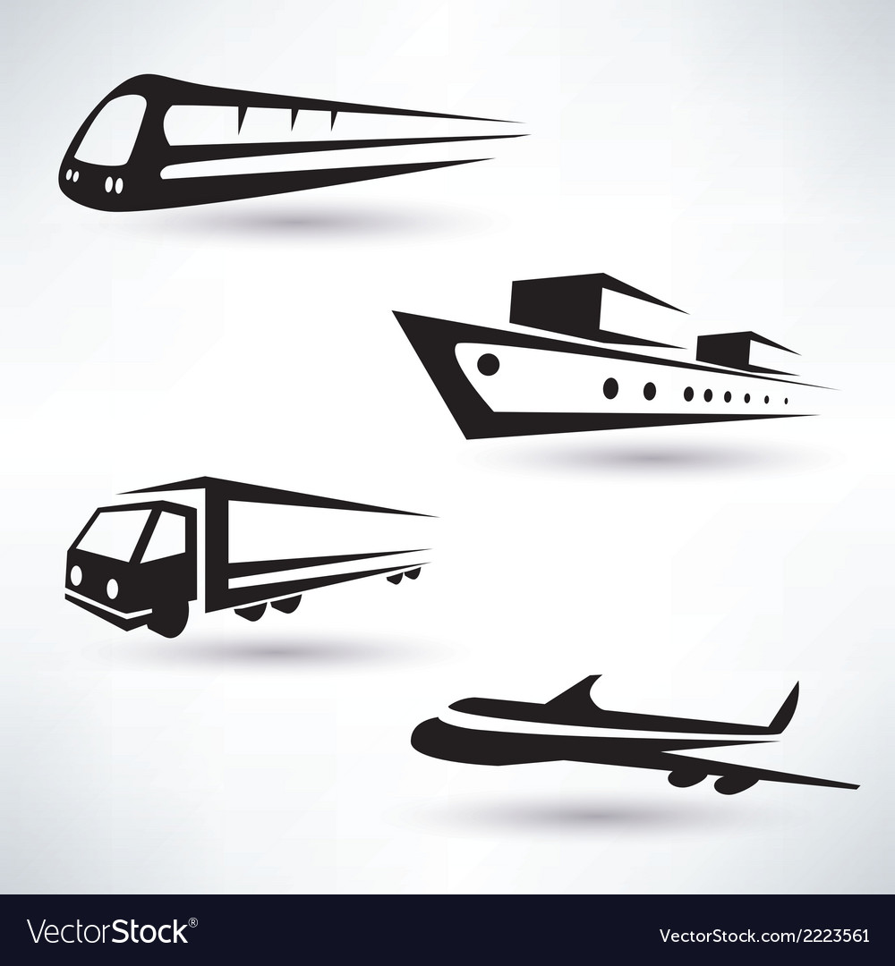 Cargo transportation icons set logistics concept vector | Price: 1 Credit (USD $1)