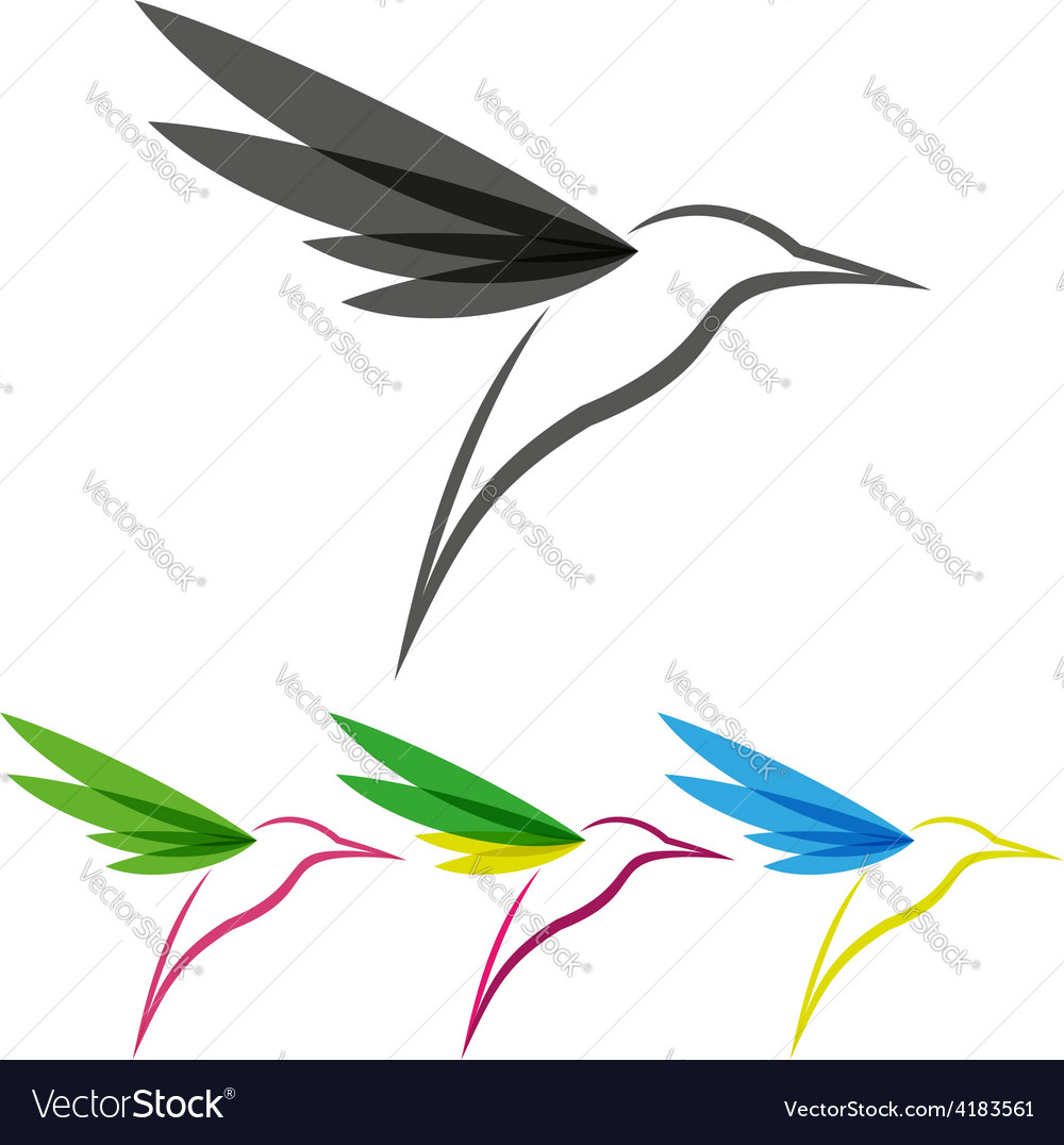 Colored stylized colibri vector | Price: 1 Credit (USD $1)