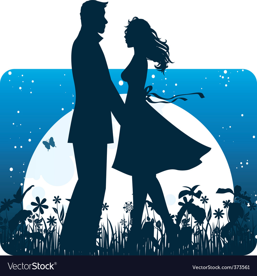 Couple banner night vector | Price: 3 Credit (USD $3)