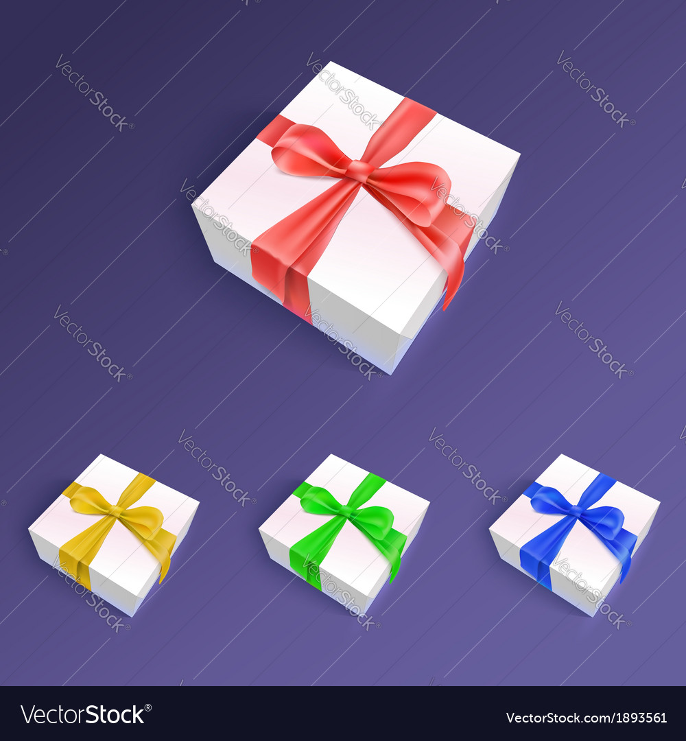 Gift boxes with ribbons and bows in different vector | Price: 1 Credit (USD $1)