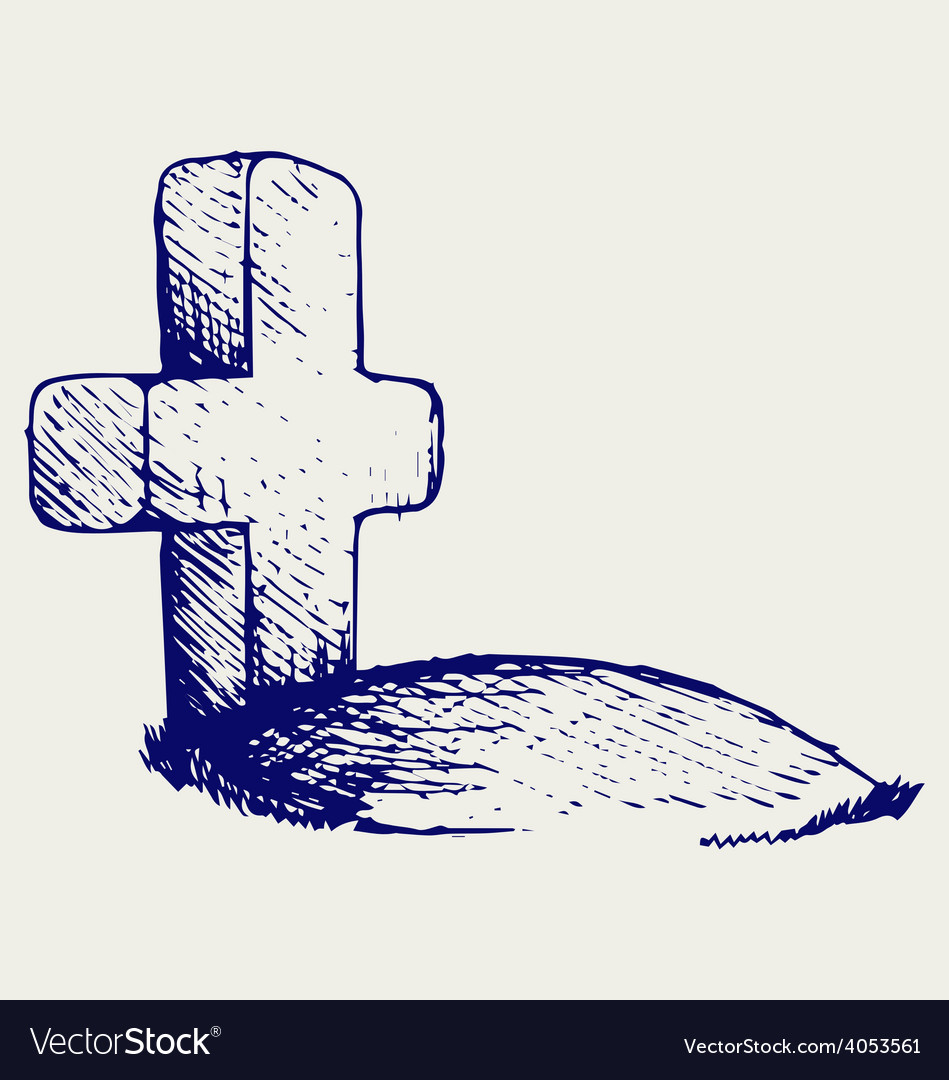 Grave with a cross vector | Price: 1 Credit (USD $1)