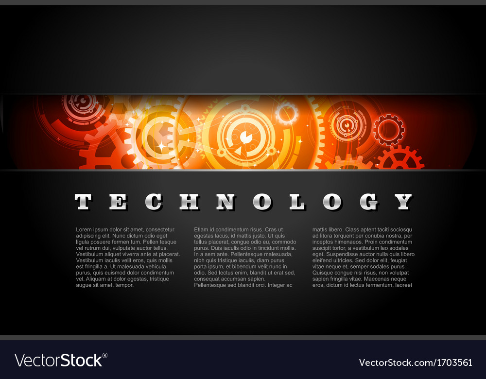 Metal technology panel with glowing gears vector | Price: 1 Credit (USD $1)