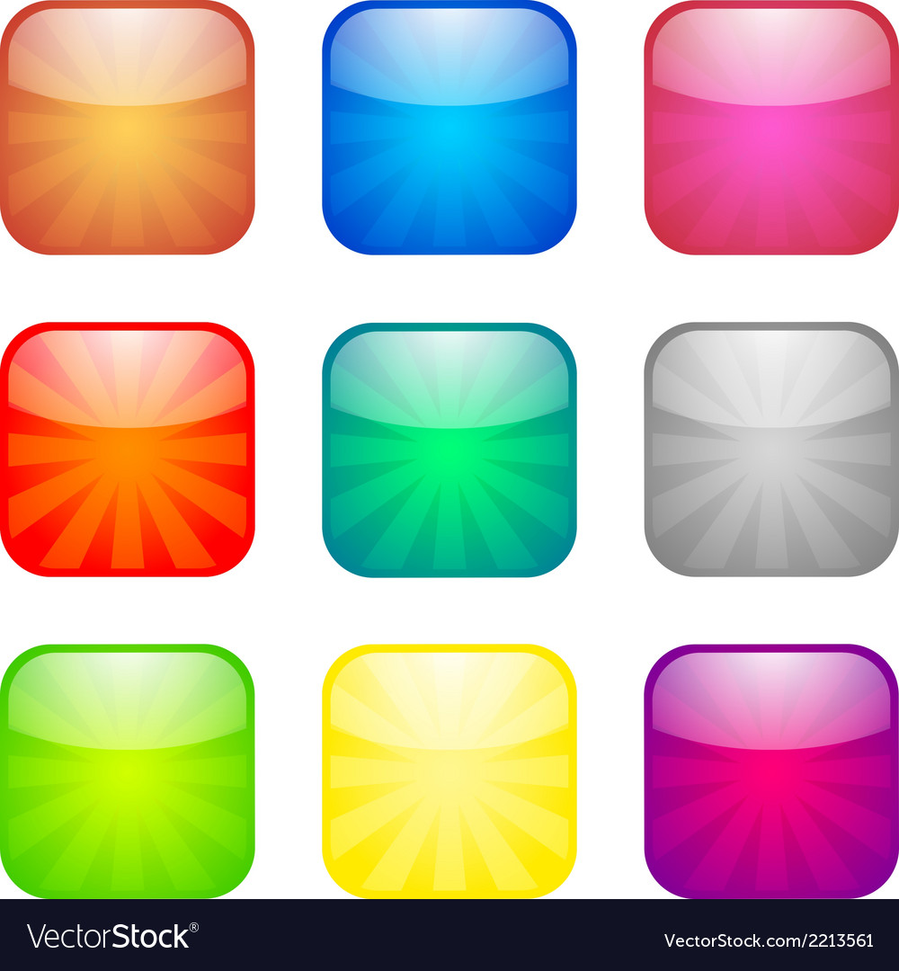 Set of glossy button icons vector | Price: 1 Credit (USD $1)