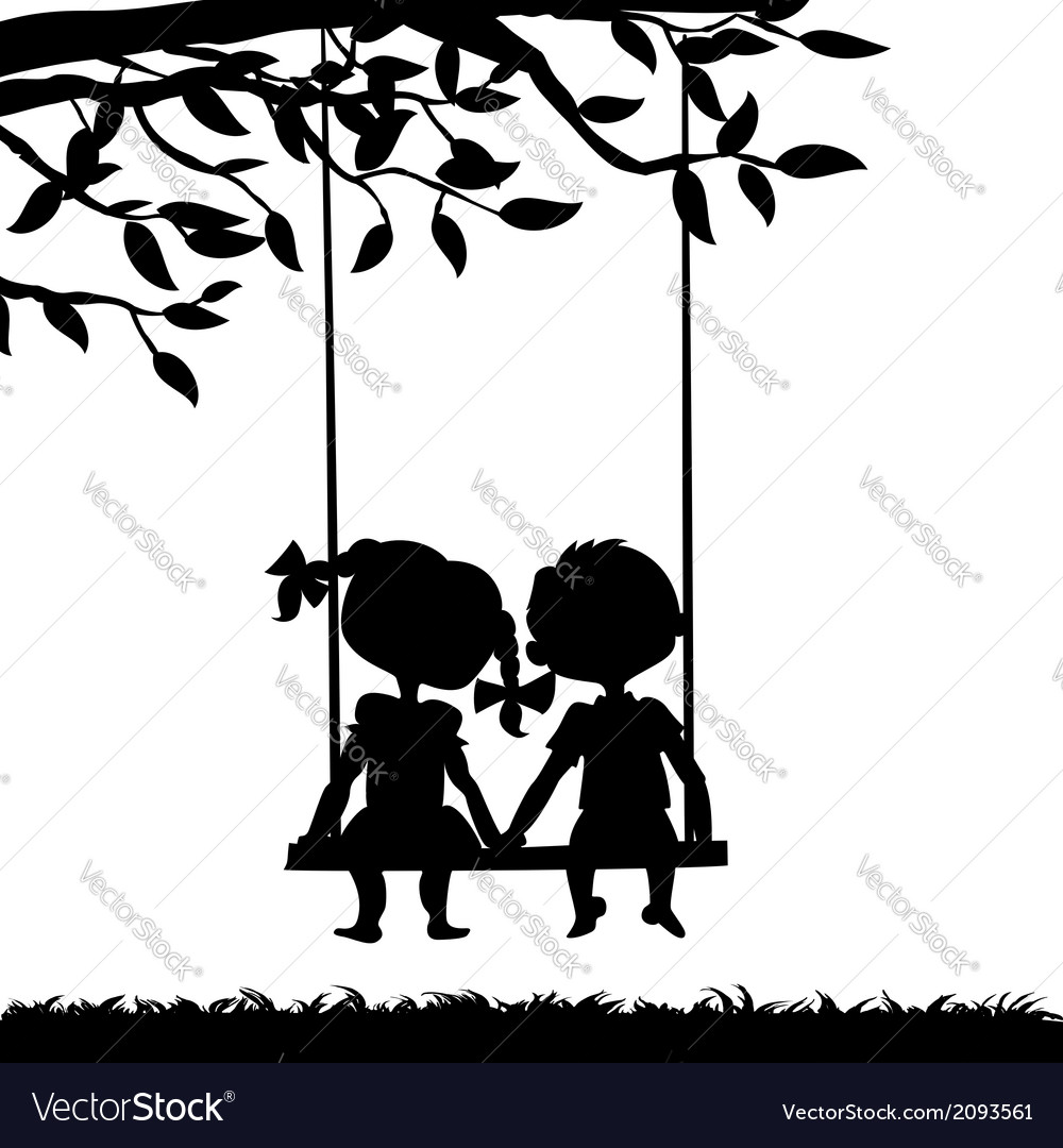 Silhouettes of boy and girl vector | Price: 1 Credit (USD $1)