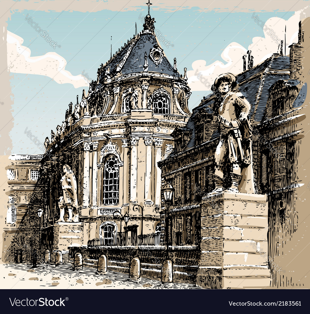 Vintage hand drawn view of versailles chapel vector | Price: 1 Credit (USD $1)