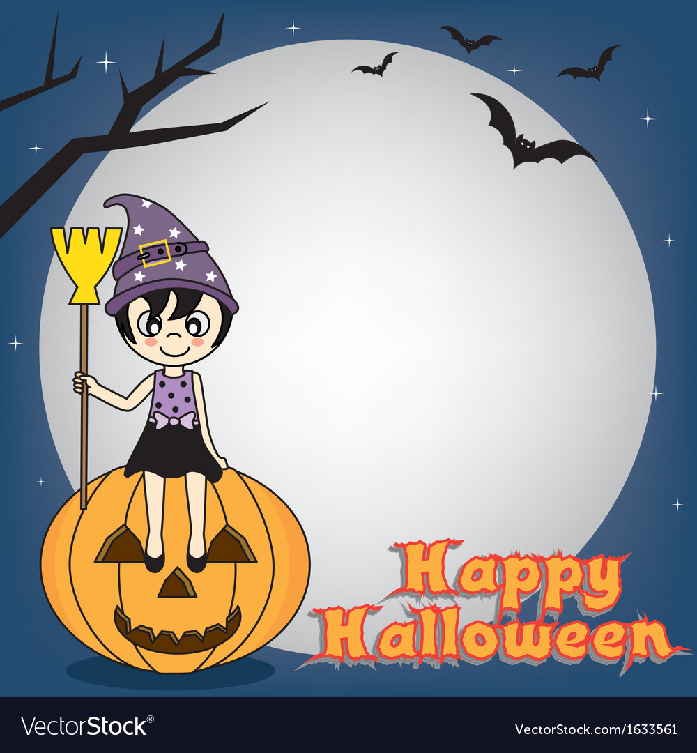Witch sitting on a pumpkin vector | Price: 1 Credit (USD $1)