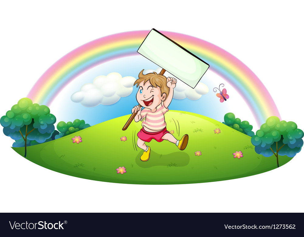 A boy holding an empty board at the hill vector | Price: 1 Credit (USD $1)