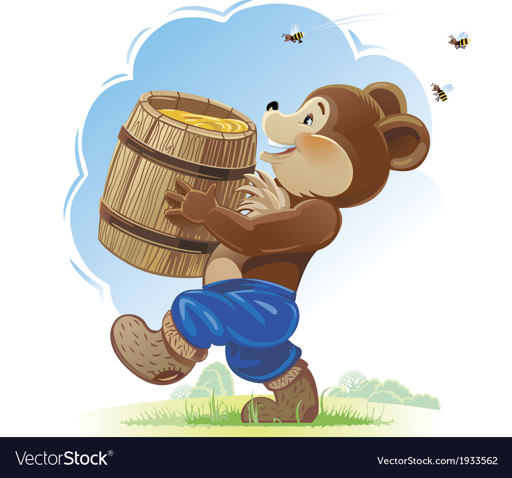 Bear cub and honey vector | Price: 3 Credit (USD $3)